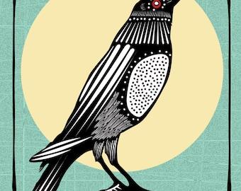 Crow Moon Tarot Card Art Print, Tribal, Woodblock, Linocut, Home Decor, Wall Art Poster