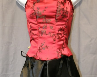 243e6f374a Red Black burlesque style dress - custom made womens small through plus  size corset style satin brocade asian cherry blossom gothic lolita