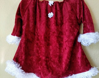 676078f1c62 Baby Christmas dress - Mrs. Claus- dark red crushed velvet with faux fur  trim infant 3-6 months - in stock ready to ship girls holiday tunic