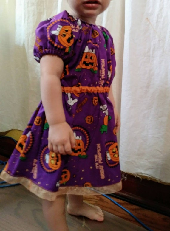 its the great pumpkin charlie brown baby and toddler dresses in stock ready to ship halloween dress purple orange snoopy peanuts cotton