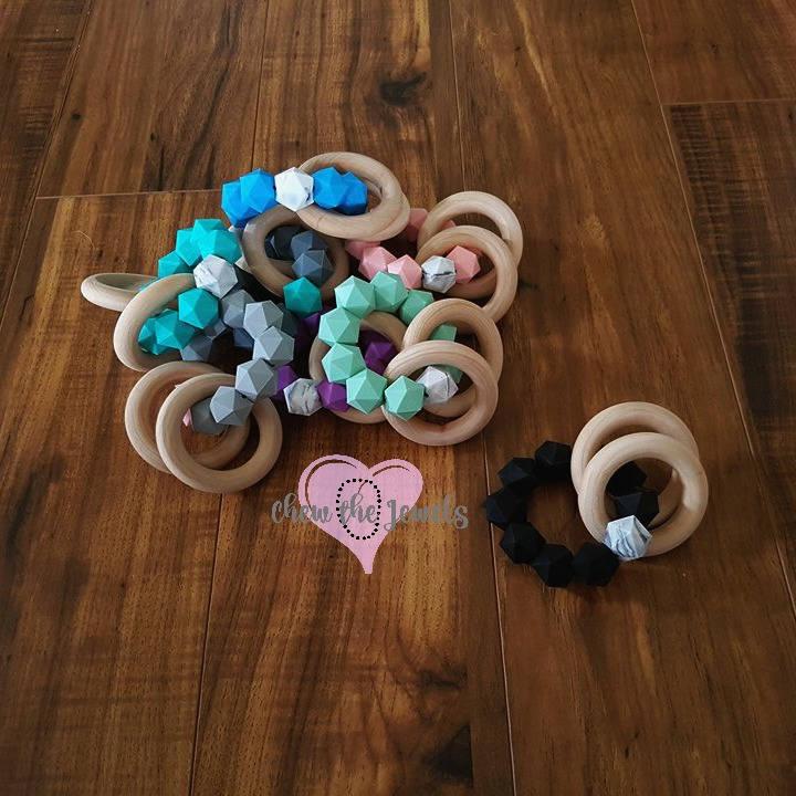 Mini Silicone Amp Wood Teething Rings