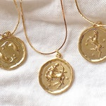 ZODIAC COIN NECKLACE - astrology necklace - celestial necklace- aries necklace - sagittarius necklace - stars necklace - horoscope necklace