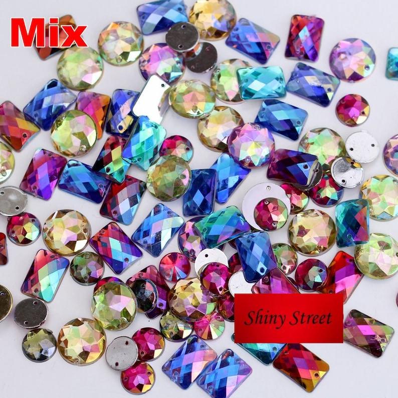 100pcs mix shapes mix AB colors rhinestones Sew on Acylic Flat  8f413d51558d