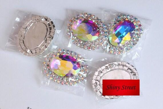 Pcs cm clair ab couture strass applique ovale avec griffe