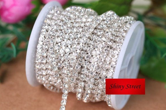 10yards roll Silver Base Clear Crystal SS6 SS10 SS12 SS16  836a27bfdccd