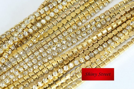 5 or 10 yards 2-4mm Crystal Close Rhinestone Cup Chain With  bd07502cb845