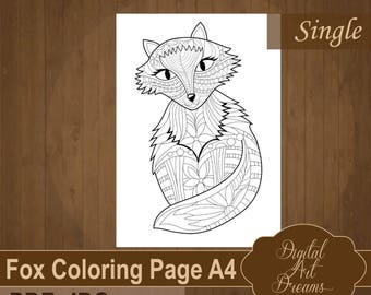 Fox Coloring Page For Adults Cute Detailed To Color PDF Printable Animal Pages Adult A4 Instant Download