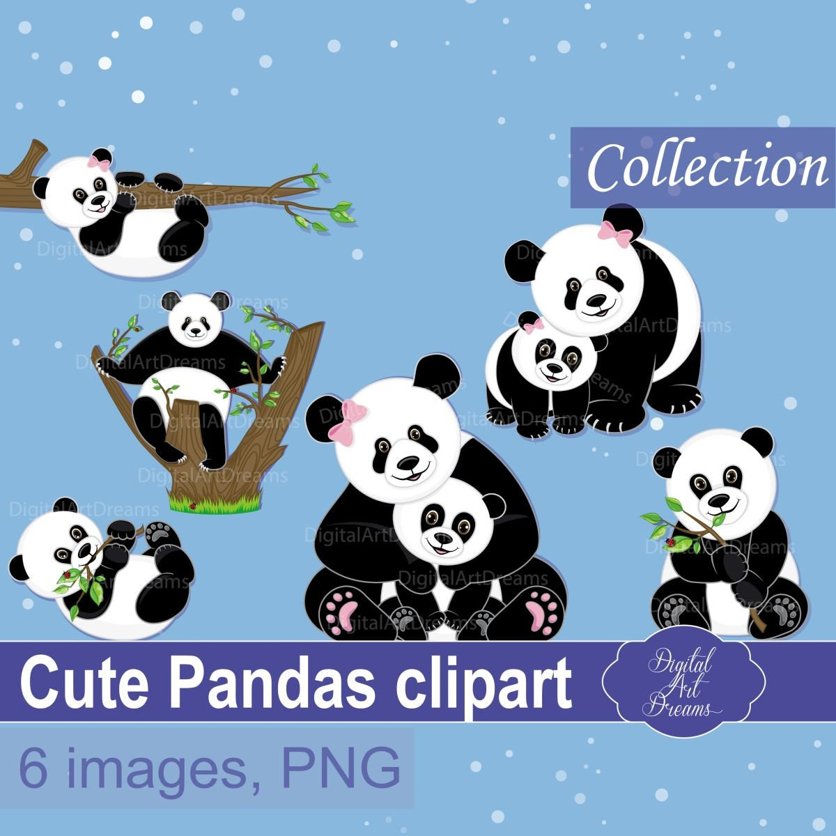 b80fd6cb1a6b Panda Bear Clipart Cute Animals Graphics Pandas Baby Mom Dad