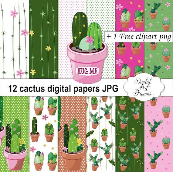 Cactus Background Cactus Digital Paper Cute Cactus Etsy