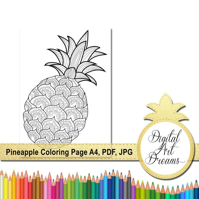 Pineapple Coloring Page Pdf Coloring Pages For Adults Jpg Etsy