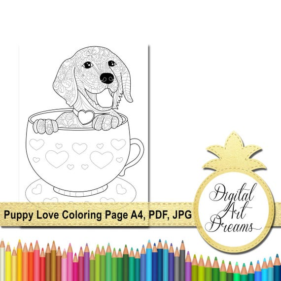 Lisa Frank Coloring Pages (With images) | Puppy coloring pages ... | 570x570