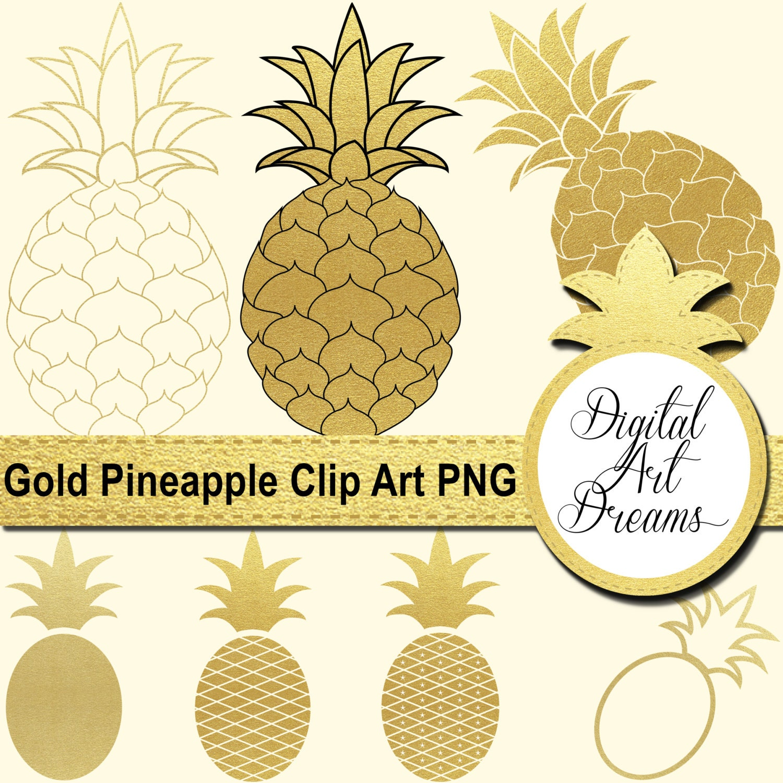 Pineapple Clip Art Gold Pineapples PNG Golden Pineapple   Etsy