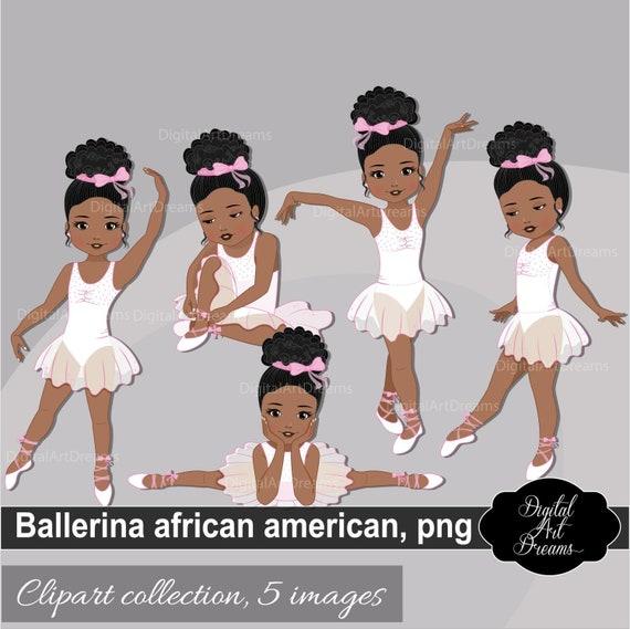 Black Ballerina Printable Clipart Ballerina Black Little Etsy