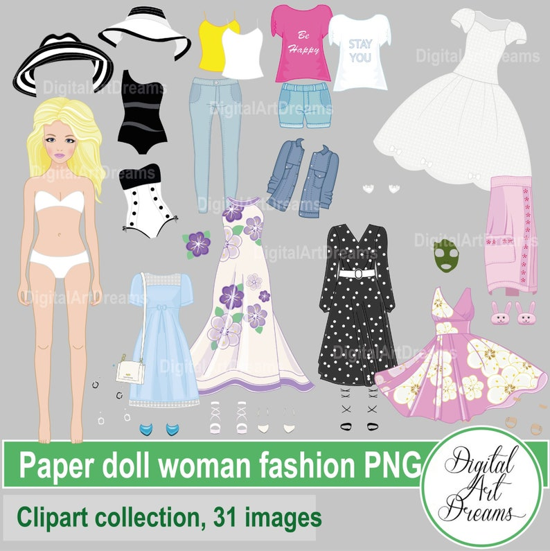 Doll Constructor PNG Cute Character Graphics Woman Dress Up Clip Art Paper Doll Clipart Digital Clothes Summer Spring Fashion Printables