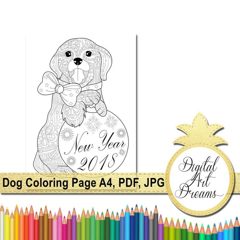 Dog Coloring Page A4 Coloring Pages Pdf 2018 Year Of The Etsy