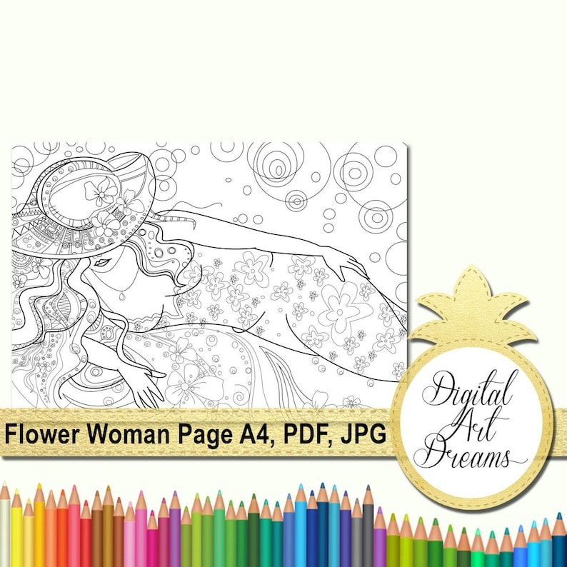 Fantasy Coloring Page A4 Woman and Flowers Digital Art | Etsy