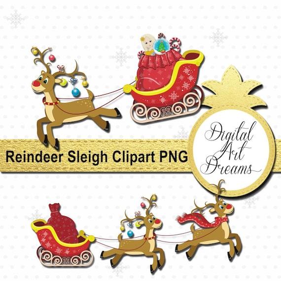 Clipart De Traineau Du Père Noël Renne Traineau Clip Art Noël Cerfs Png Rudolf Image Digital Graphics Imprimables Scrapbooking Cadeaux De Noël