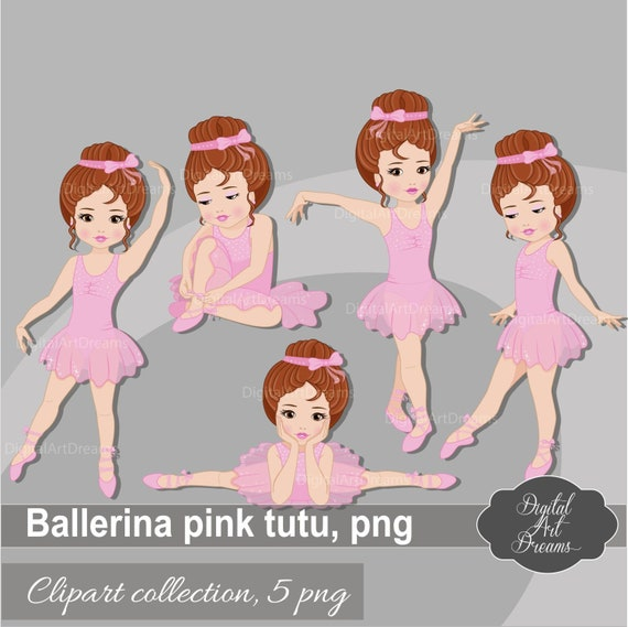 Ballerina ClipArt, kleine Mädchen Clipart, Charakter Grafiken, rosa Tutu Kleid, braune Haare Mädchen Ballett, süße Ballerina Printables, Tanz Png