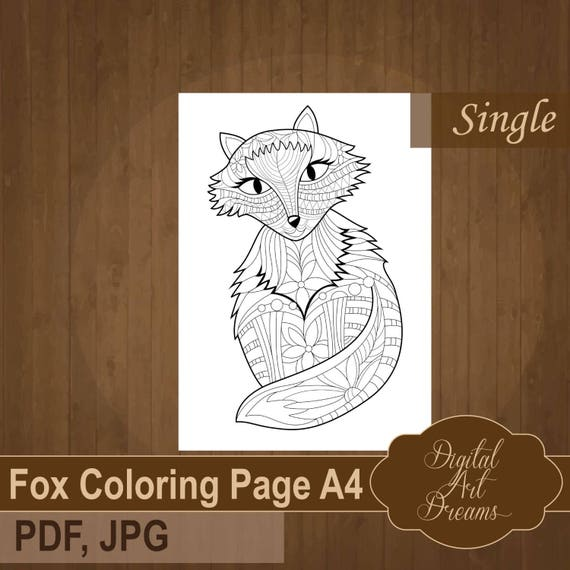 Fox Coloring Page For Adults Cute Detailed Fox To Color Pdf Etsy