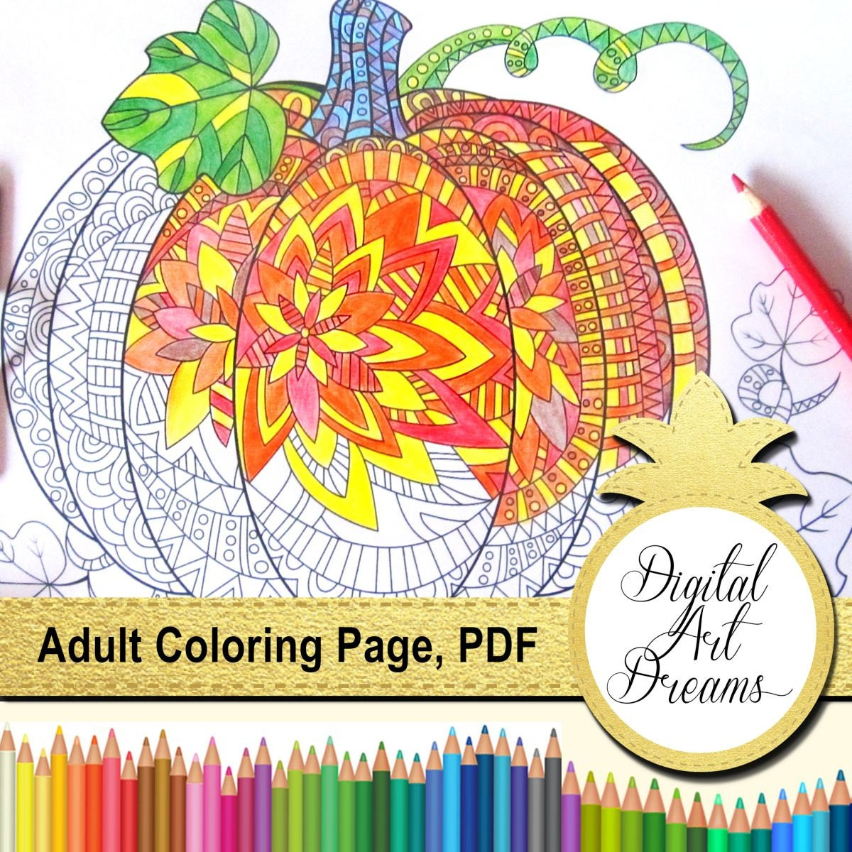 Pumpkin Coloring Pages for Adults Printable Pumpkins Pumpkin | Etsy