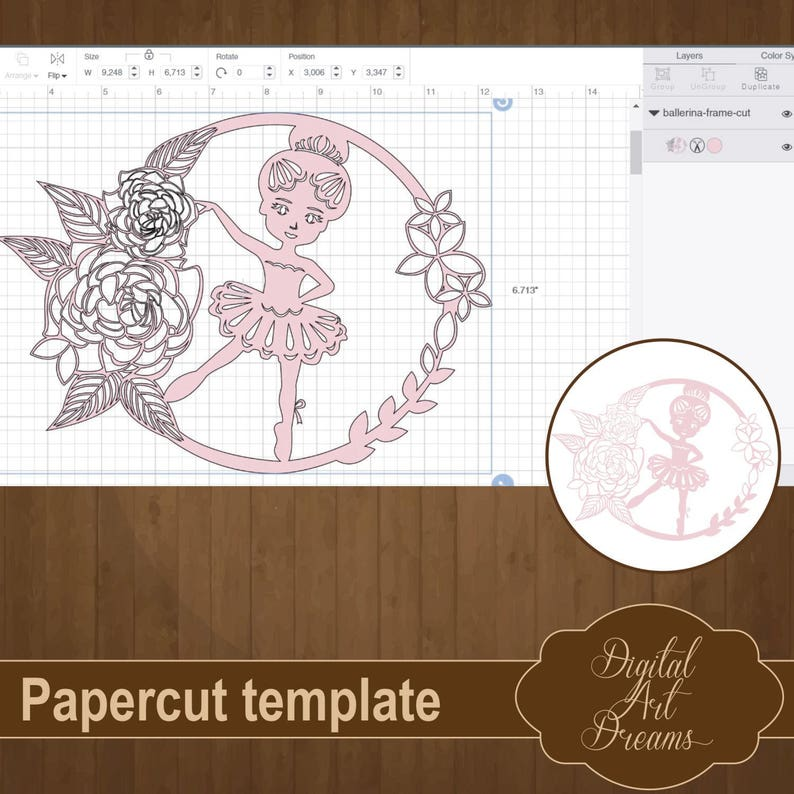 4e196be336 Ballerina SVG Cut Paper Cut Template PDF Dancing Baby | Etsy