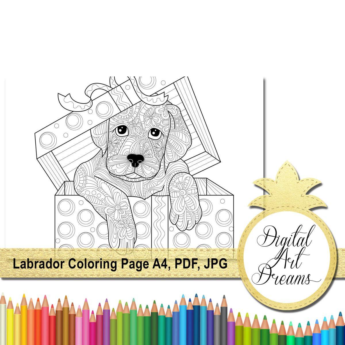 Labrador Retriever Coloring Page Dog Colouring Page   Etsy