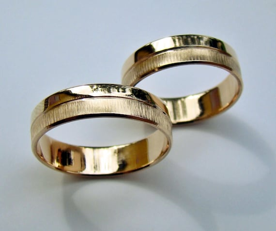 Pair Handmade Solid Weight 2 Wedding Rings His And Hers Etsy