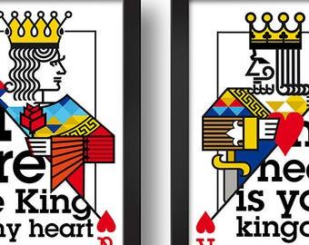 QUEEN&KING Paired frames Digital print Design art