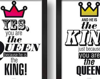You are the QUEEN because he is the KING Paired frames Digital print Design art
