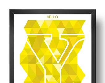Hello YELLOW   Downloadable print   Printable design   Digital print   Typography   Design art
