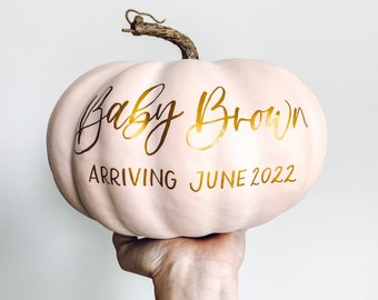 Large Personalized Pumpkin, baby announcement, gender reveal, Fall Decor, Thanksgiving Decor, Family Pumpkin, Personalized Pumpkin Decor
