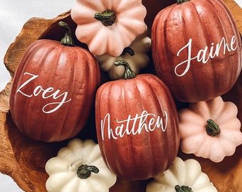 Small Personalized Pumpkin place cards, Thanksgiving table decor, red maroon pumpkin table setting fall centerpiece, personalized pumpkins