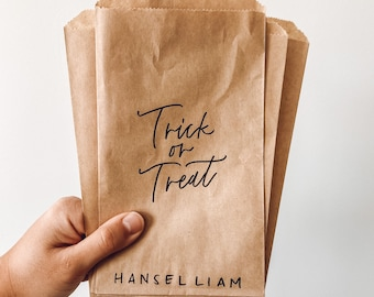 Halloween paper treat bags, trick or treat Kraft paper bag, individual treat bags for Halloween, personalized goodie bags for wedding