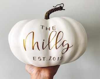 Large Personalized Pumpkin, gold Fall Decor, Fall Decor, Thanksgiving Decor, Personalized Family Pumpkin, Personalized Pumpkin Decor