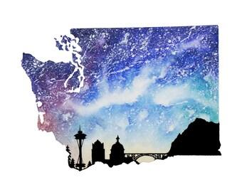 "Washington Galaxy in Watercolor- 9"" x 12"" Print"