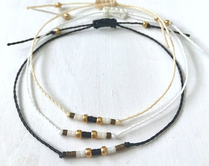 Minimalist Bracelet, String Bracelet, Summer Jewelry, Stacking String Bracelet, Waterproof, Boho, Adjustable Bracelet, Beach Bracelet