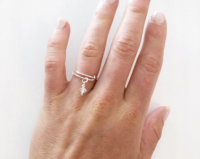 Herkimer Diamond Ring, Delicate Ring, April Birthstone Ring, Initial Ring, Dangle Ring, Custom Stone Ring, Birthstone Ring