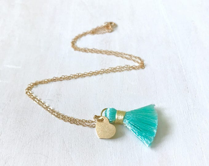Tassel Trend Jewelry for Her, Tassel Gift for Wife, Gallentines Gift, Tassel Necklace, Gold Heart Necklace for Her
