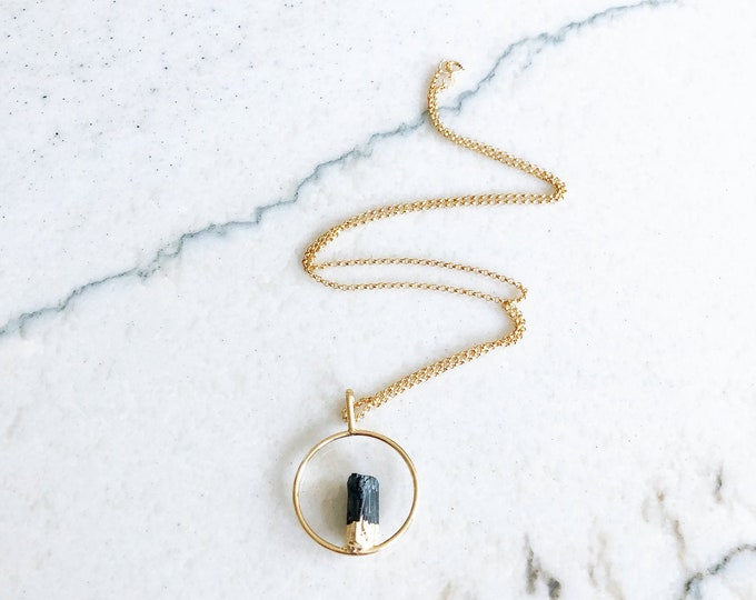 Black Tourmaline Necklace, October Birthstone Necklace, Raw Black Tourmaline Necklace, Birthstone Necklace, Tourmaline Necklace