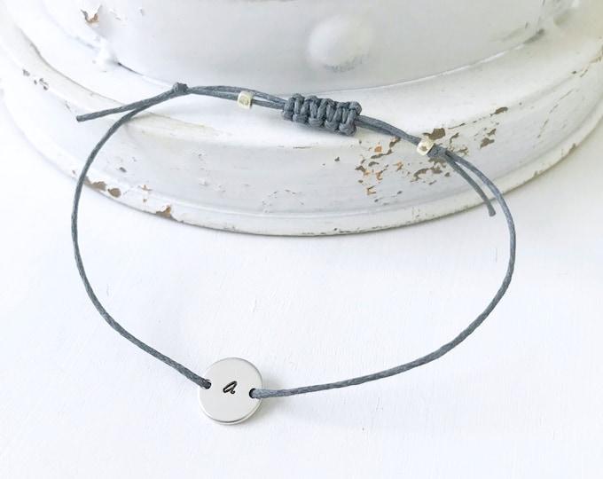 Custom Initial Bracelet, Silver Initial Bracelet for Women, Dainty Disk Bracelet, Personalized Bracelet, Initial Disk Silver, Initial Disk