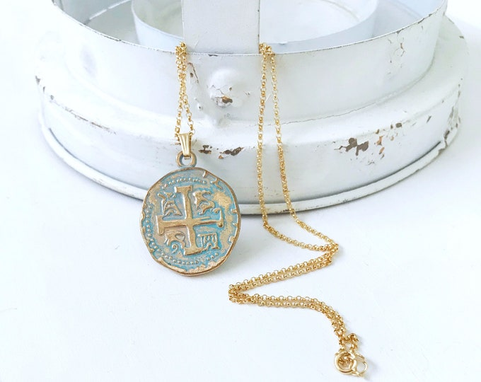 Cross Necklace, Coin Necklace, Gold Medallion Necklace, Mermaid Jewelry, Gold Coin Necklace, Gold Cross Necklace