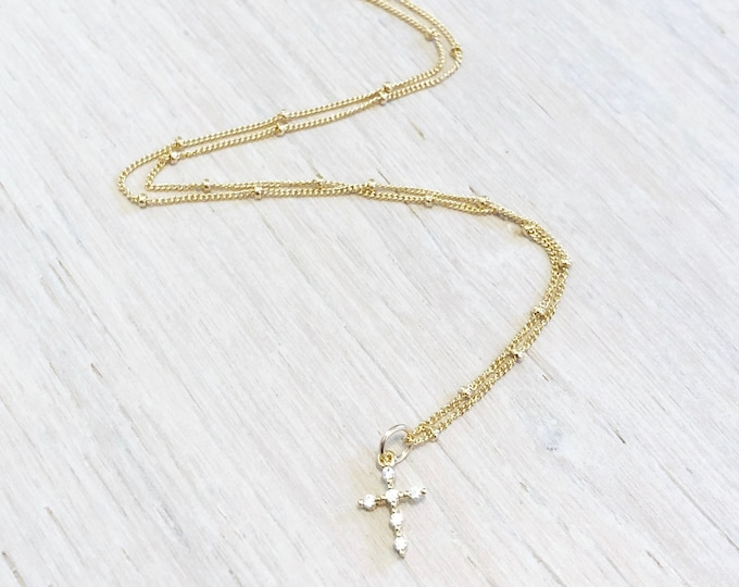 Dainty Cross Necklace, Tiny Gold Cross Necklace, Gold Cross Necklace, Tiny Cross Necklace, Cubic Zirconia Cross Necklace, Religious Jewelry