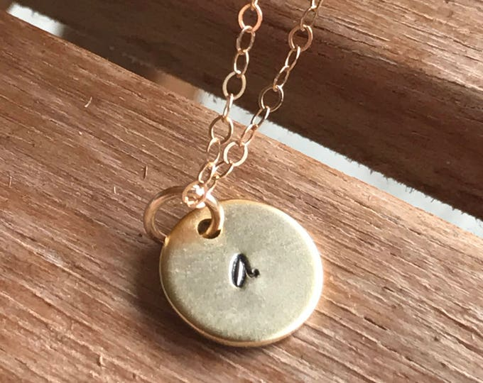 Custom Dainty Disk Necklace, Gold Disk Initial Necklace, Personalized Gallentines Gift, Gold Custom Initial Necklace, Custom Necklace Disk