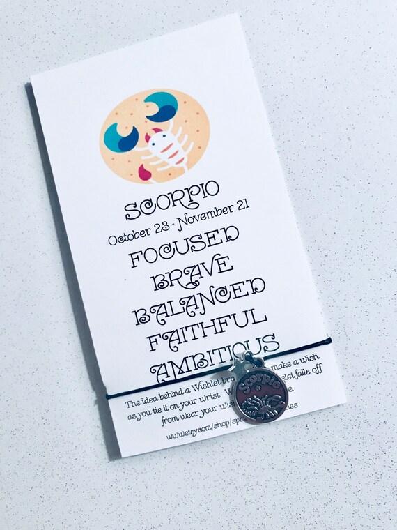 Zodiac Bracelet Wish Scorpio Gift Birthday October November Gifts