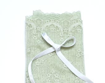 DIY Bramaking Lingerie Kit in White and Mint Green, Lingerie Sewing Kit with Stretch Lace