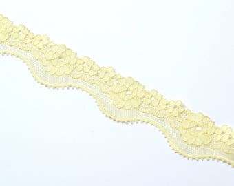 1 m of lingerie elastic lace trim in yellow