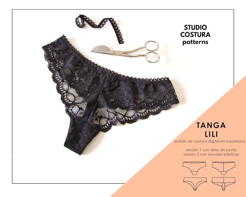 SPANISH PDF Digital Sewing Pattern Lili Thong Lingerie Sewing image 0
