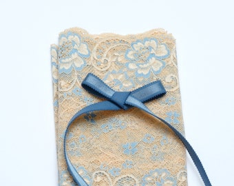 DIY Bramaking Lingerie Kit in White and Beige with Blue, Lingerie Sewing Kit with Stretch Lace