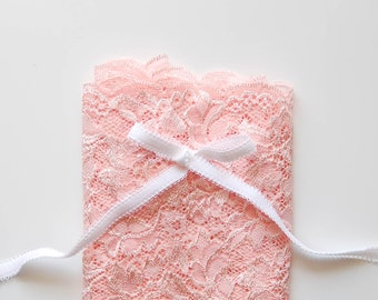 DIY Bramaking Lingerie Kit in White and Pink, Lingerie Sewing Kit with Stretch Lace