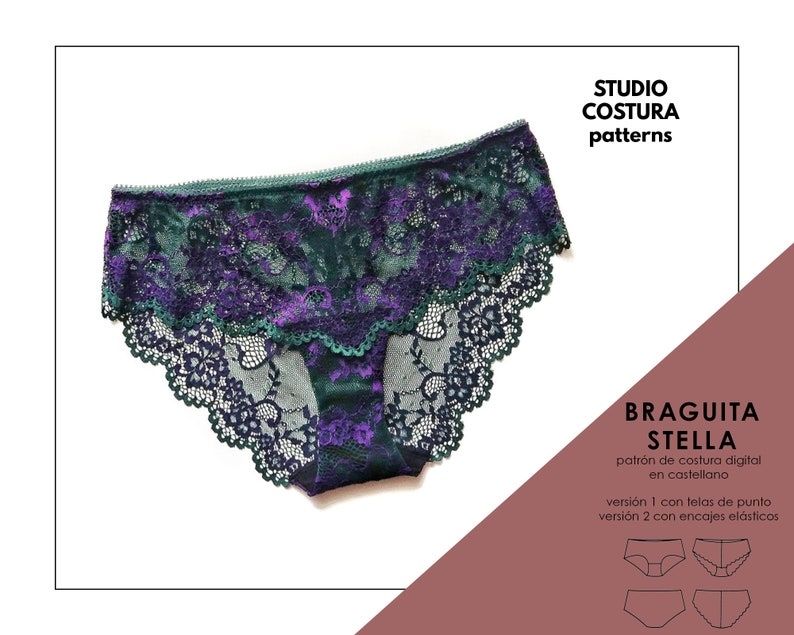 SPANISH PDF Digital Sewing Pattern STELLA Panties Lingerie image 0